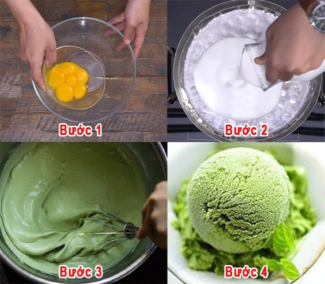 Cách làm kem trà xanh